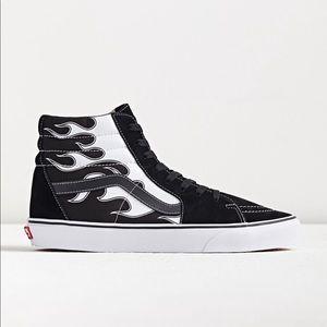NWT Vans Sk8-Hi Flames Black/White Sneakers